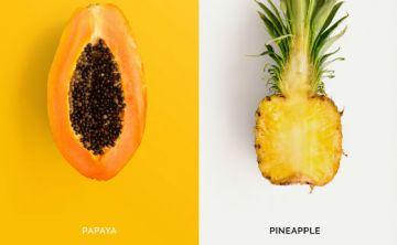 Piña y papaya, ricas en vitaminas y bajas en calorías